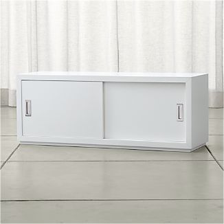 "Aspect White 47.5"" Modular Sliding Door Storage Unit"