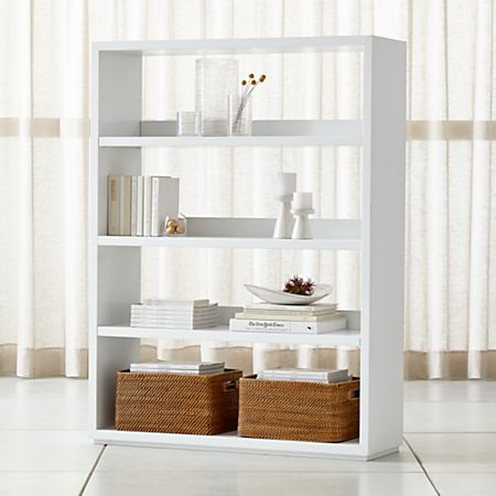 Aspect White Modular Open Double Bookcase