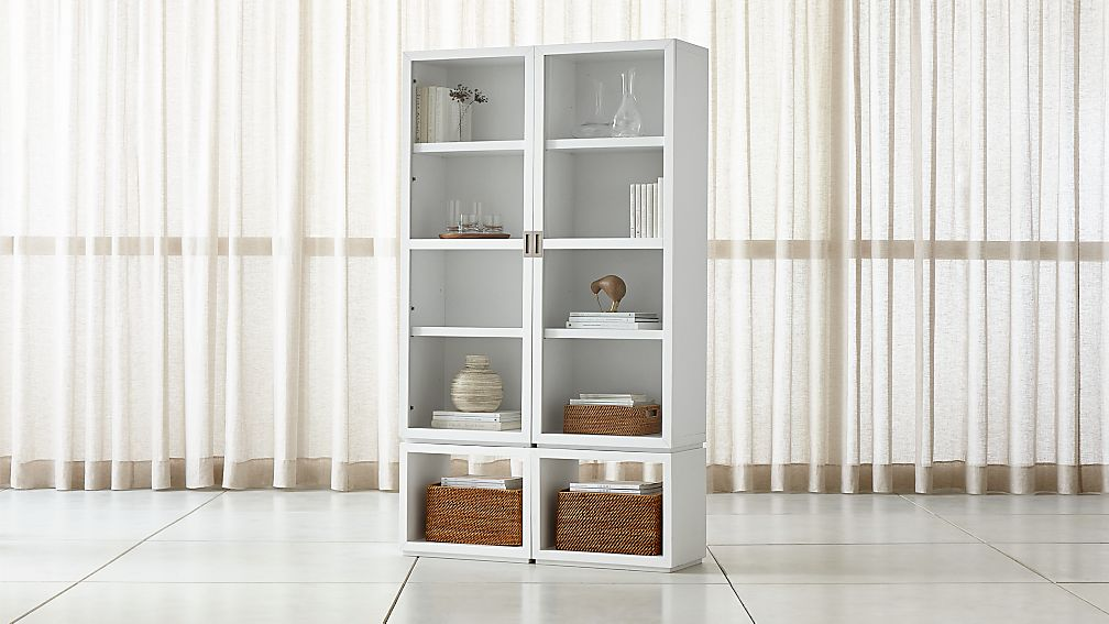 Aspect White 4 Piece Glass Door Storage Unit Reviews Crate And