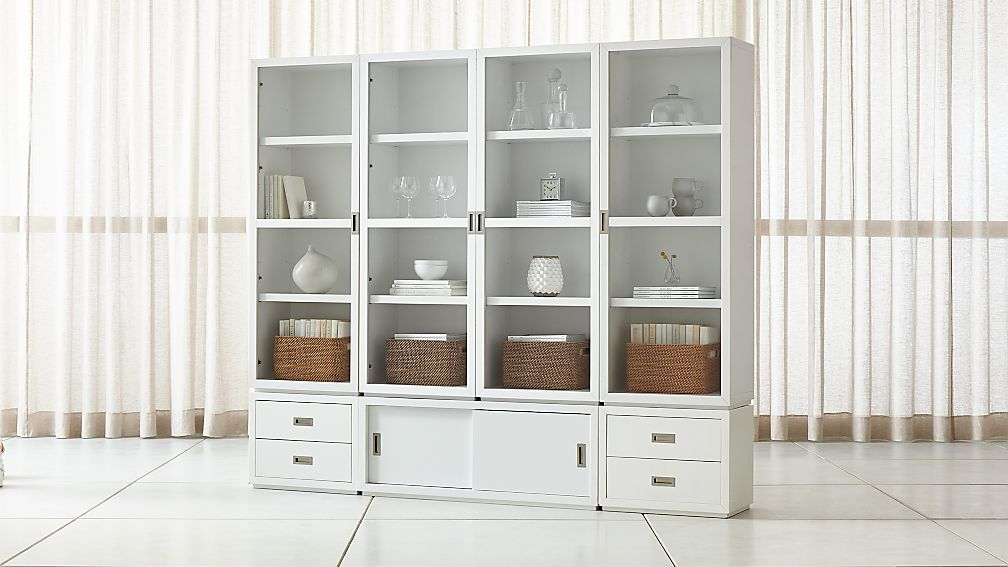 Aspect White 7 Piece Glass Door Storage Unit Reviews Crate And