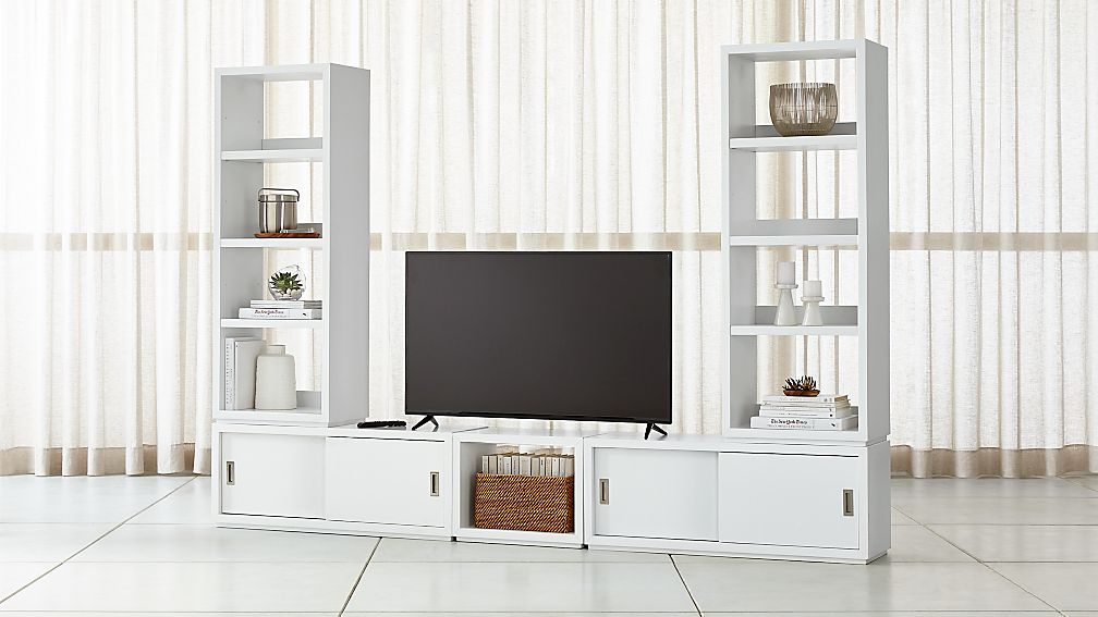 Aspect White Modular Media Center With 23 Open Units Reviews Crate And Barrel