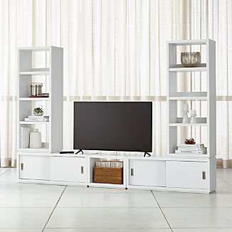 Aspect White Modular Media Center With 23 Open Units