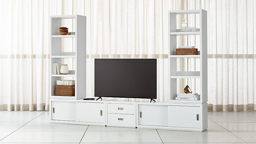 Aspect White Modular Media Center With Drawers ...