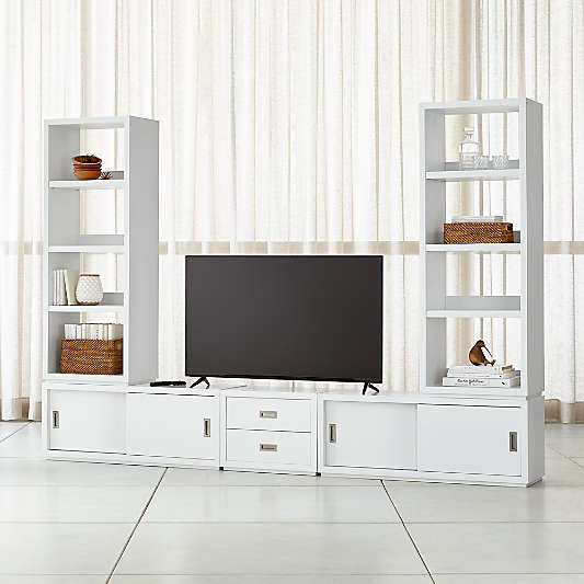 Aspect White Modular Media Center with Drawers