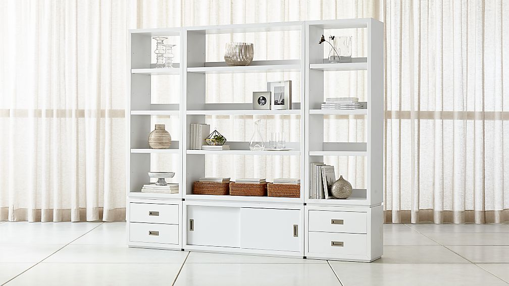 Aspect White 6-Piece Open Storage Unit with Drawers - Image 1 of 3
