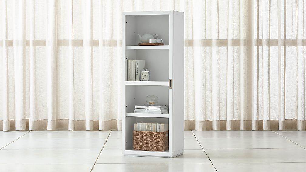 Aspect White Bookcase With Glass Door Reviews Crate And Barrel