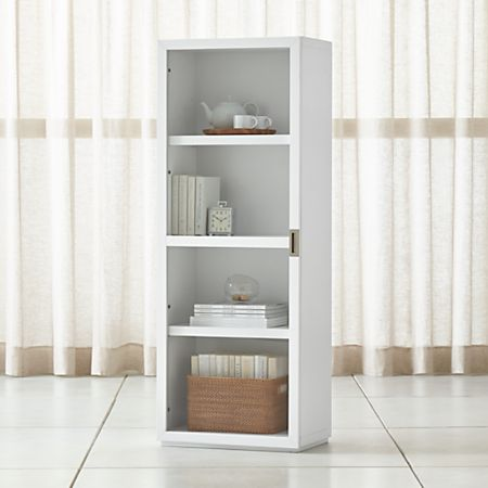 Aspect White Bookcase With Glass Door