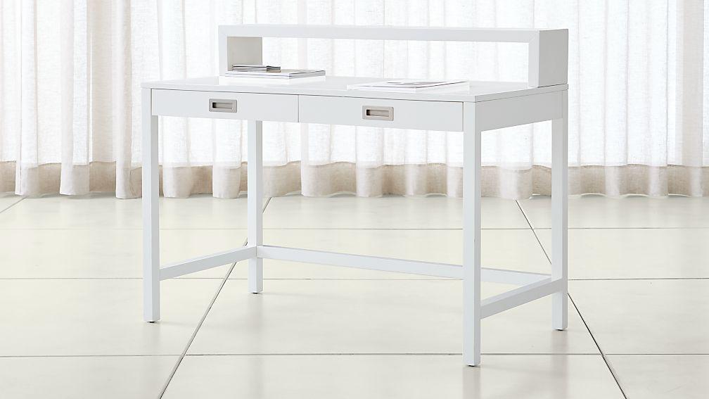 Aspect White Desk with Hutch ... - Aspect White Desk With Hutch Crate And Barrel