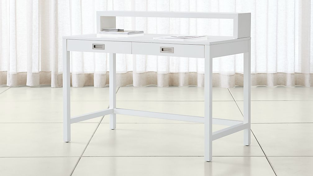 Aspect White Desk With Hutch Reviews Crate And Barrel