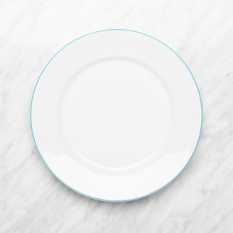 Aspen Aqua Band Dinner Plate & Dinner Plates: Square Oval Rectangular \u0026 Round | Crate and Barrel