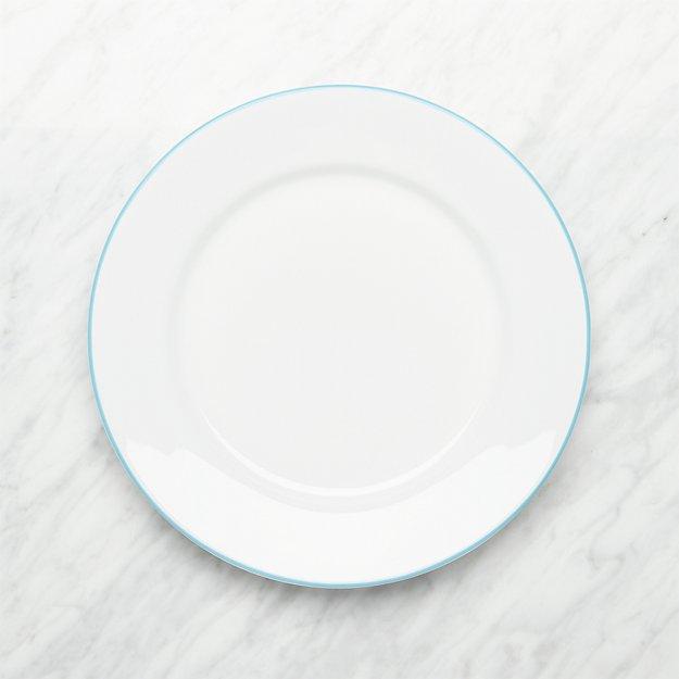 Aspen Aqua Band Dinner Plate - Image 1 of 3