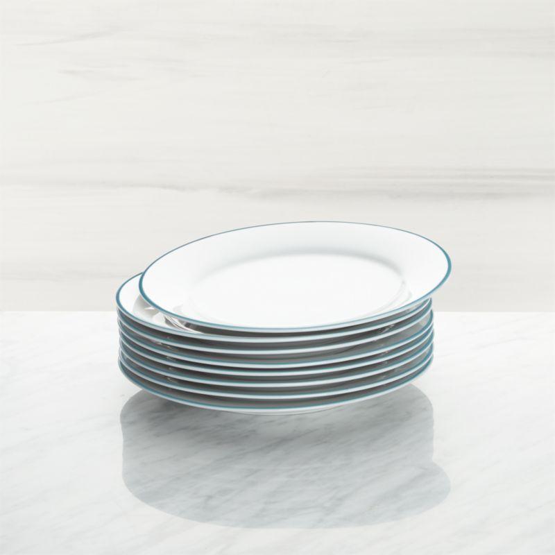 Aspen Aqua Band Salad Plates Set Of 8 Reviews Crate