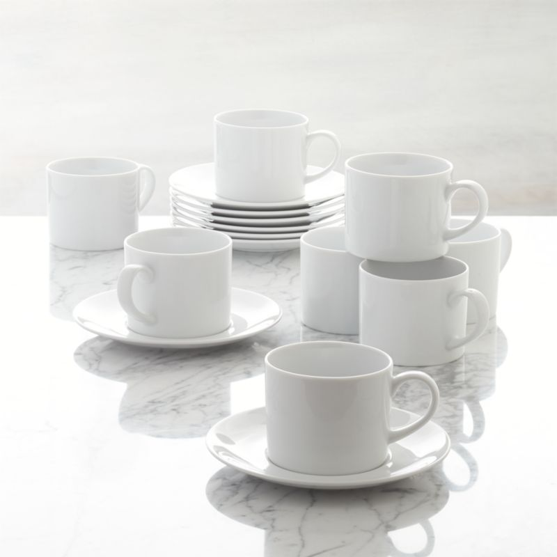 """Our Aspen dinnerware is an overture of grace and simplicity. Dressing up or down with ease, its elegant appearance belies its everyday durability. Trim, crisp lines in bright white porcelain; extensive array of pieces to choose from. Easy care.<br /><br /><NEWTAG/><ul><li>Porcelain</li><li>9 oz. cup, 6.25"""" dia. saucer</li><li>Durable and chip-resistant</li><li>Dishwasher-, microwave- and warm oven-safe</li><li>Made in Indonesia</li></ul>"""