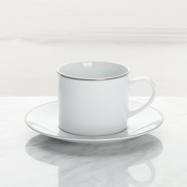 Aspen Grey Band Cup and Saucer - Image 1 of 3