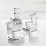 Aspen Grey Band Espresso Cups and Saucers, Set of 8