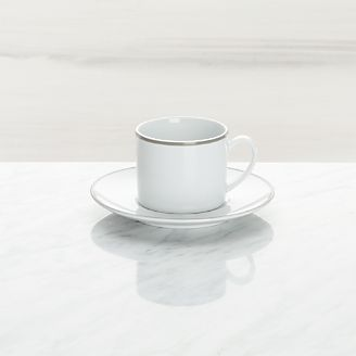 Aspen Grey Band Espresso Cup And Saucer