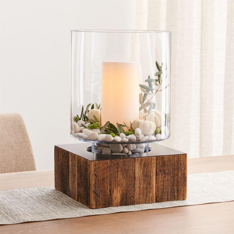 aspen hurricane candle holder with wood base