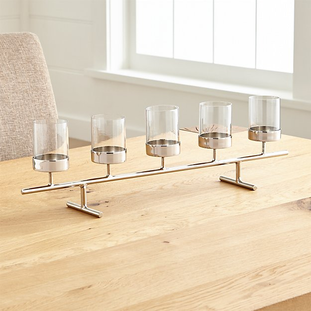 Asta silver tealight centerpiece in candle holders