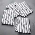 Aster Stripe Grey Dish Towel, Set of 4