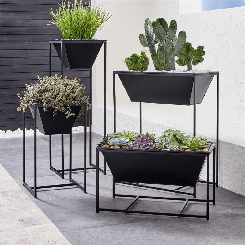 Astra Black Planters by Crate&Barrel