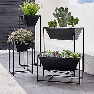 Outdoor planters pots and garden tools crate and barrel astra black planters workwithnaturefo