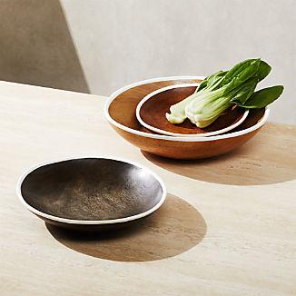 Astra Large Mango Wood Bowls, Set of 3