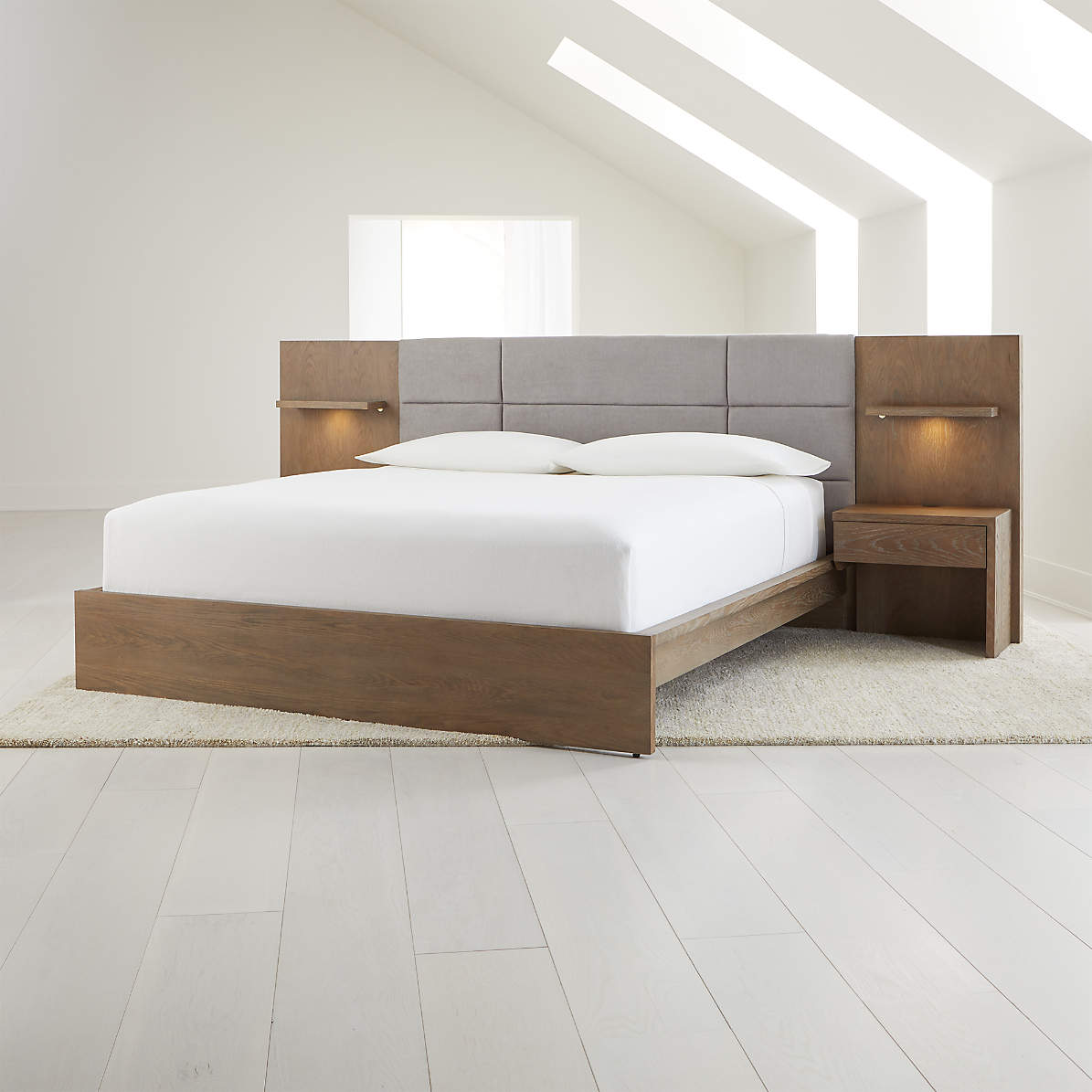 Atlas King Bed With Panel Nightstands Reviews Crate And Barrel