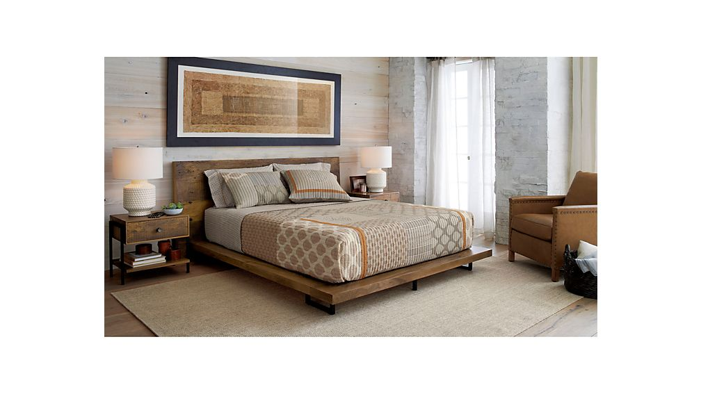 atwood reclaimed wood queen bed crate and barrel