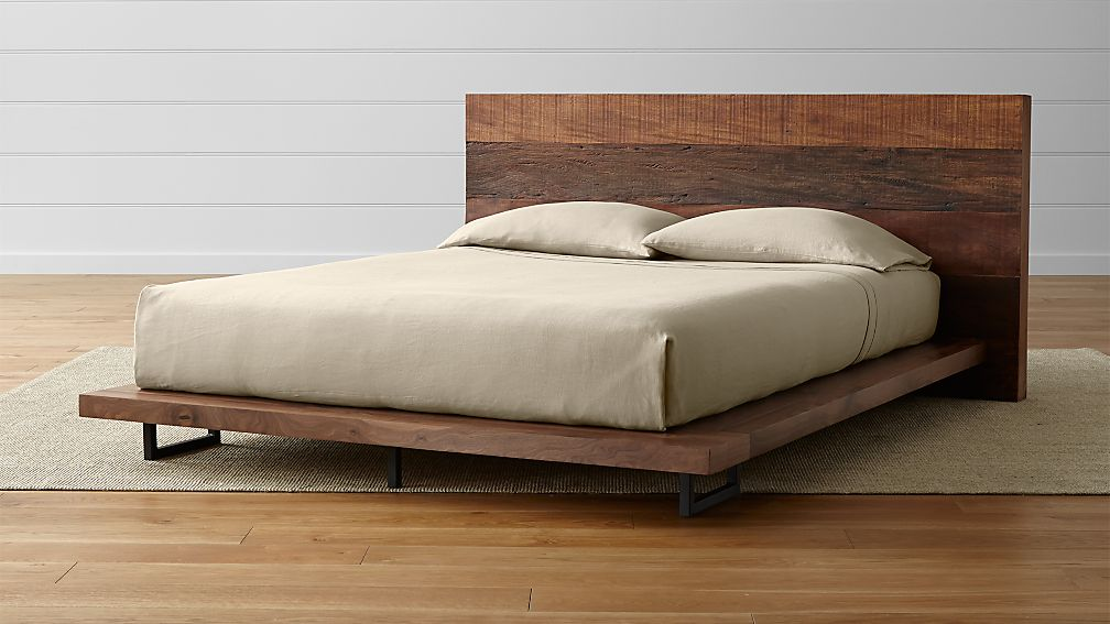atwood reclaimed wood queen bed reviews crate and barrel - Queen Bedroom Frames