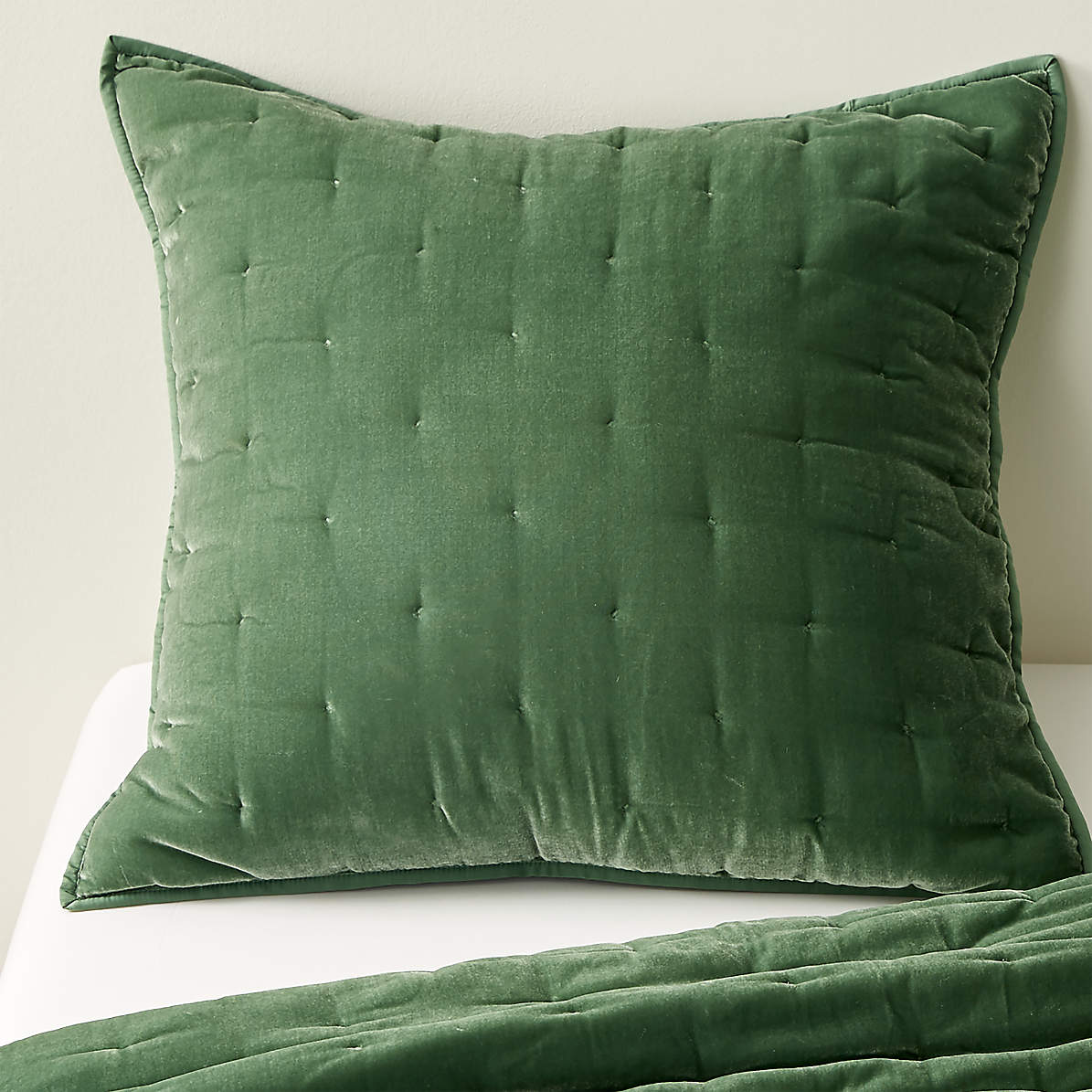 Audra Green Velvet Euro Sham Reviews Crate And Barrel