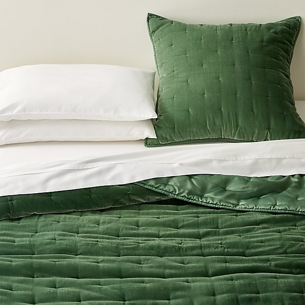 Audra Green Velvet Quilts and Euro Sham - Image 1 of 5