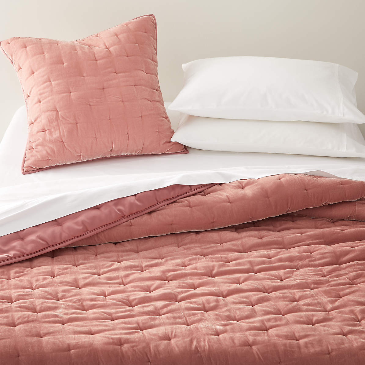 Audra Blush Velvet Euro Sham Reviews Crate And Barrel