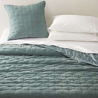 Audra Lead Grey Velvet Bed Linens