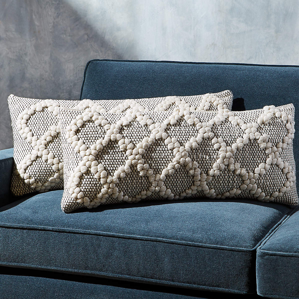 Austine Grey And Cream Pillows 28 X12 Set Of 2 Reviews Crate And Barrel