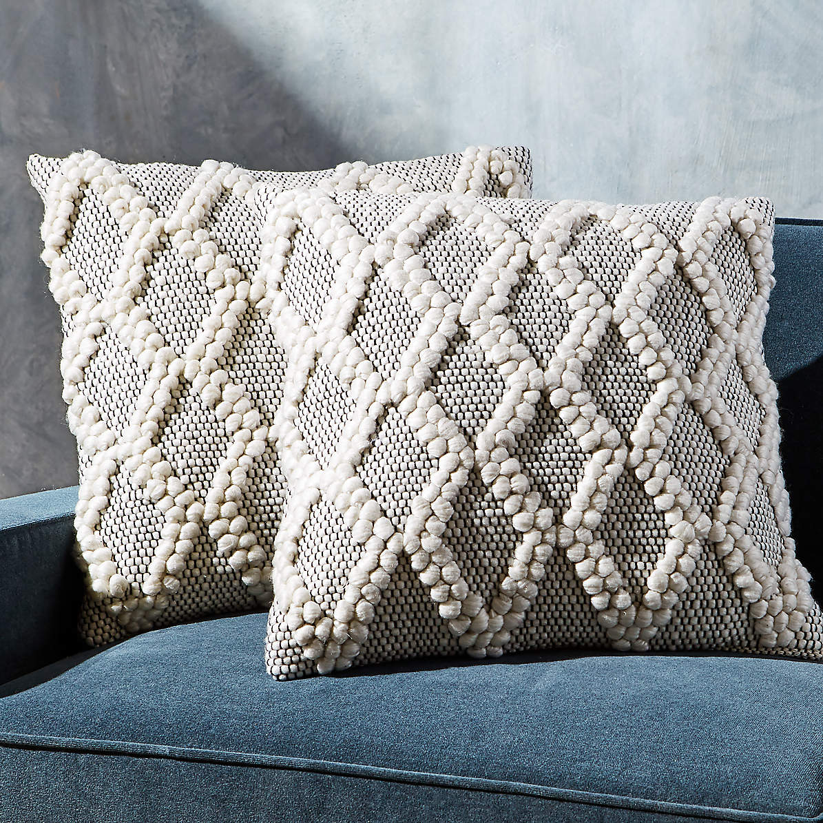 Austine Grey And Cream Pillows 20 Set Of 2 Reviews Crate And Barrel