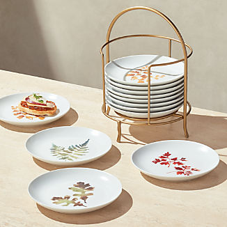 Autumn Plates with Stand, Set of 12