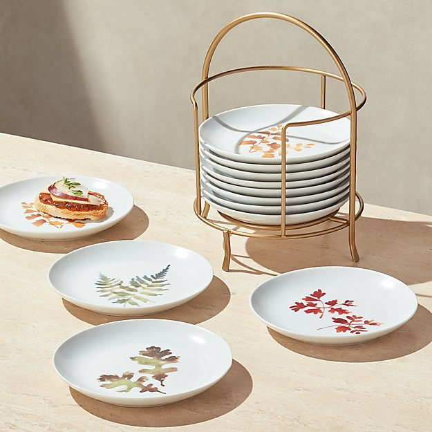 Autumn Plates with Stand, Set of 12 - Image 1 of 3