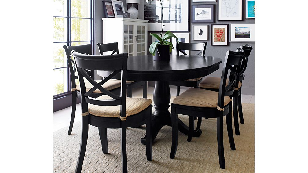avalon 45 black round extension dining table crate and