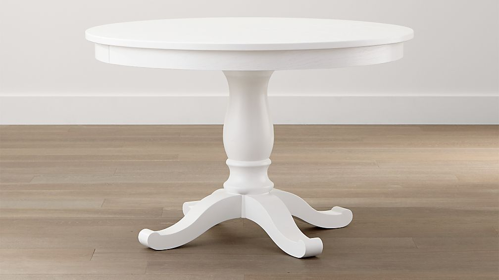 Avalon 45 white extension dining table crate and barrel for Off white round table