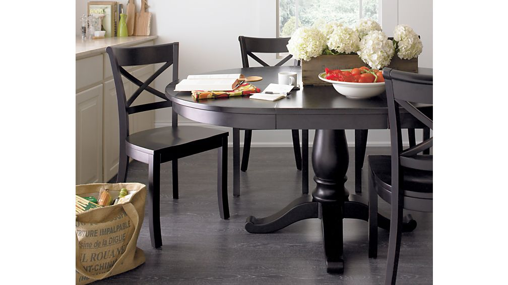 Avalon 45quot Black Round Extension Dining Table Crate and  : AvalonExtensionDingTblFNM11 from www.crateandbarrel.com size 1008 x 567 jpeg 57kB