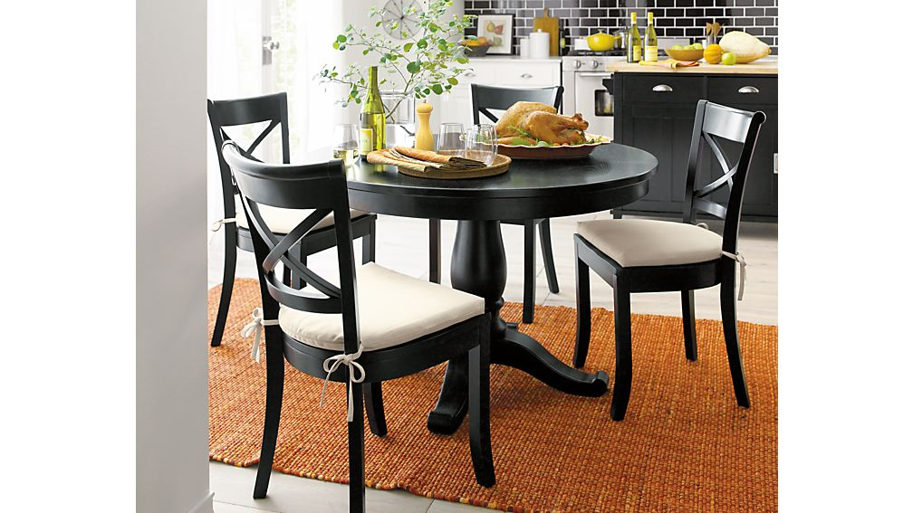 Avalon 45 Black Round Extension Dining Table Crate and Barrel