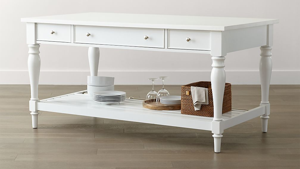 Avalon Large White Kitchen Island Reviews Crate And Barrel - Kitchen island crate and barrel