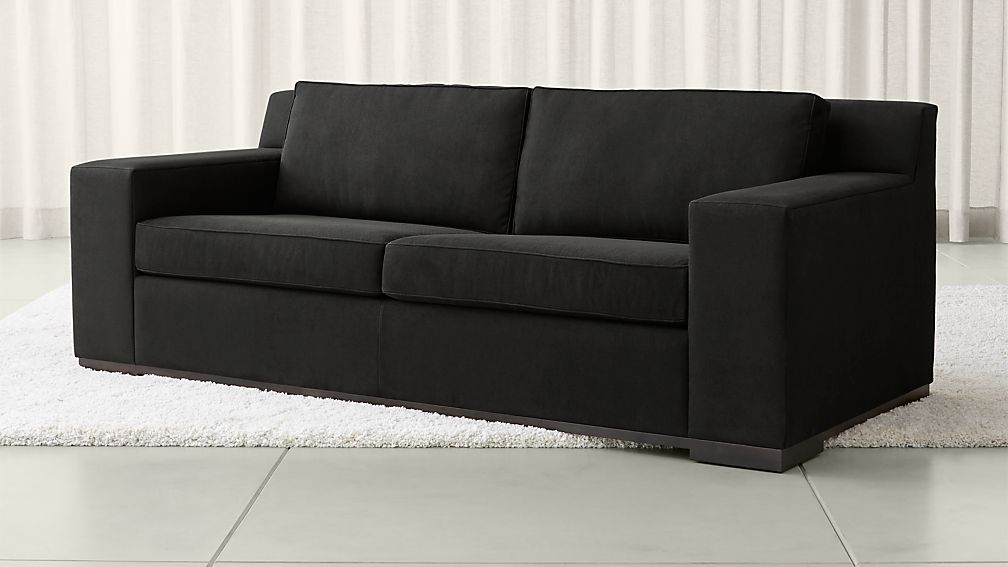 Avante faux suede sofa crate and barrel for Suede couch