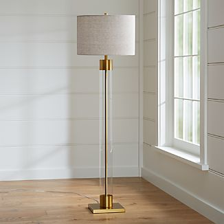 Clear glass lighting crate and barrel avenue brass floor lamp aloadofball Gallery