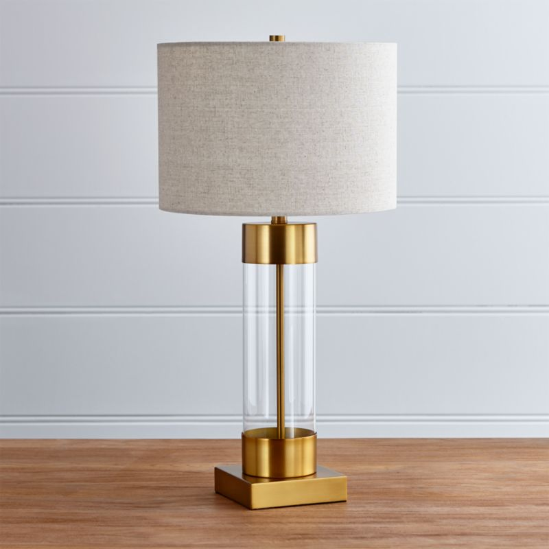 Avenue brass table lamp with usb port