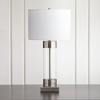 Avenue Nickel Table Lamp with USB Port