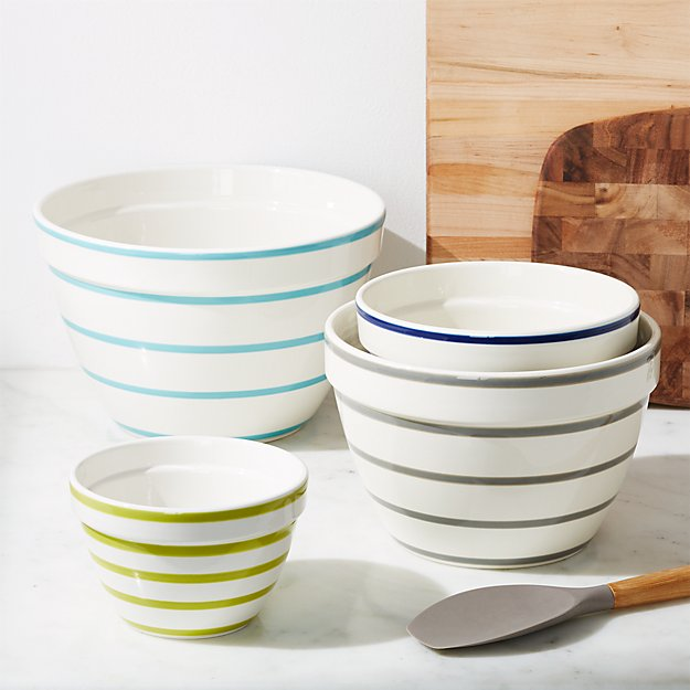 Avery Striped Mixing Bowls, Set of 4 - Image 1 of 5