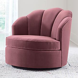 Avery Dusty Mauve Velvet Swivel Chair