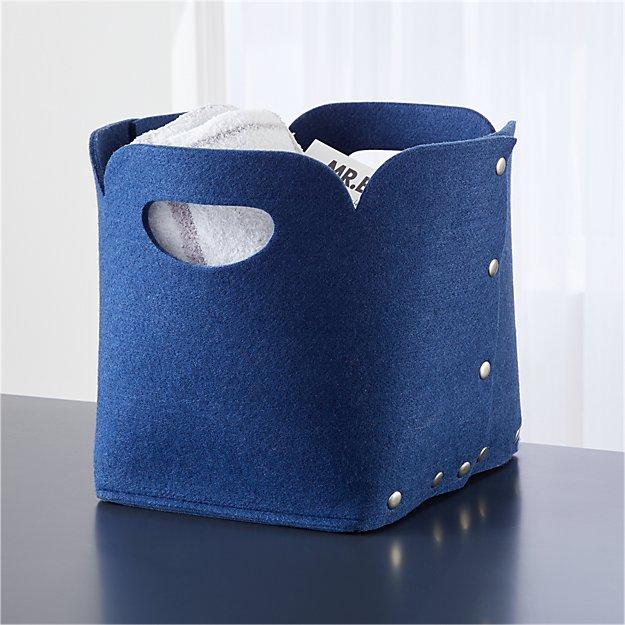 Snap Dark Blue Cube Bin - Image 1 of 9
