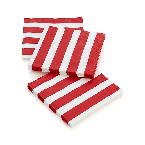 Set of 20 Awning Stripe Paper Cocktail Napkins